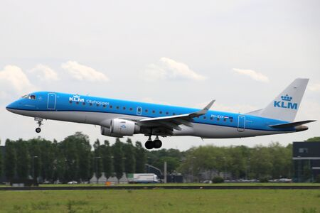 PH-EXF KLM Cityhopper Embraer ERJ-190STDAircraft at the Aalsmeerbaan  36R-18L at Amsterdam Schiphol airport in the Netherlands