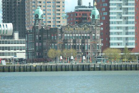 Former passenger terminal named Holland Amerika Lijn at the Wilhelminapier in Rotterdam, nowadays in use as restaurant.