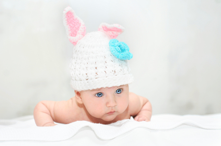 mouth cloth: Baby boy in costume with rabbit ears