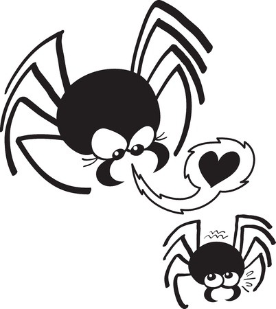 inviting: Female spider aggressively inviting her lover to make love Illustration