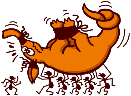 A distressed aardvark being kidnapped by a group of brave ants Illustration