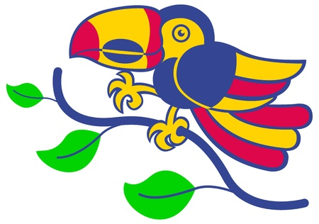zooco: A colorful toucan balancing in a tree branch Illustration
