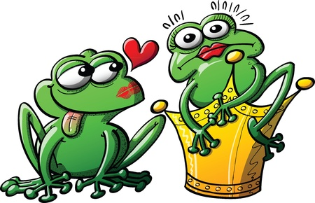 Princess turn into a surprised frog in front of her loving toad Illustration