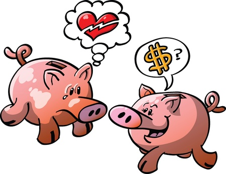 zooco: Male piggy bank having his heart broken while his female mate ask him for money