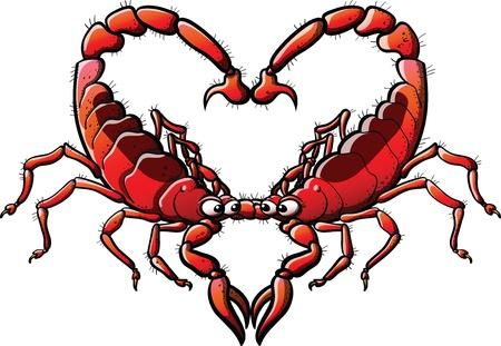 Un par de escorpiones amantes crean un coraz�n con sus cuerpos Vectores