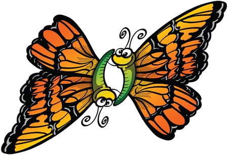 Colorful butterflies falling in love while flying and performing a 69 position Illustration