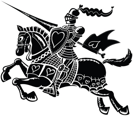 Brave black knight riding his horse and wearing clothes decorated with hearts Illustration