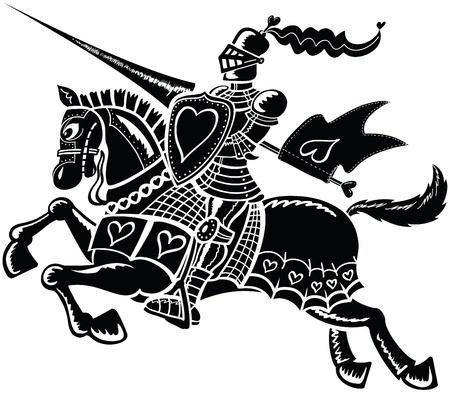 Valiente caballero montado en su caballo negro y vistiendo ropas adornadas con corazones Vectores