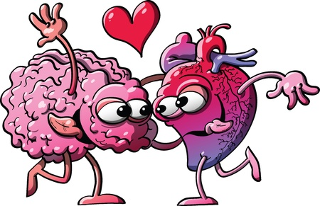 Brain and heart in love happily meeting, hugging and dancing Vector