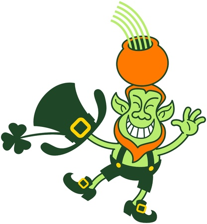 Green Leprechaun smiling, greeting and balancing while holding a pot of gold and a rainbow over his head
