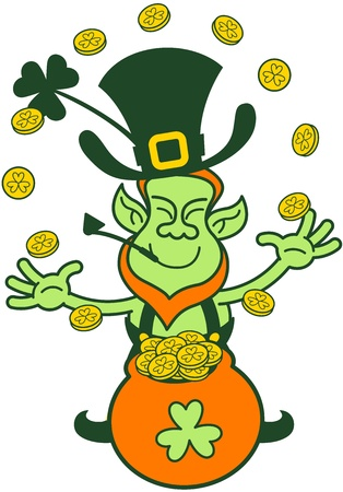 st paddy s day: Smiling Leprechaun having fun while playing and juggling with gold coins coming from his pot of gold Illustration