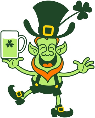 mischief: Green leprechaun smiling, showing his joy and drinking a toast to celebrate Saint Patrick