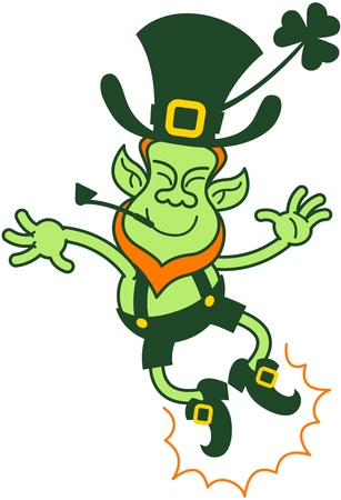 Green leprechaun jumping and clapping his feet to show how proud and happy he is Illustration