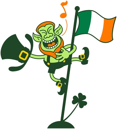 good s: Happy and proud leprechaun singing after having climbed an Irish flag pole