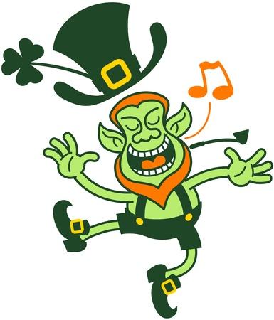 granting: Proud leprechaun singing and dancing Illustration