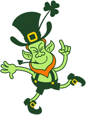 Happy leprechaun dancing and pointing his finger up