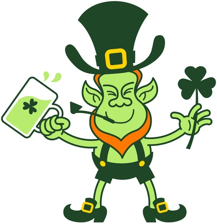 Green leprechaun smiling while holding beer and a shamrock clover Vector