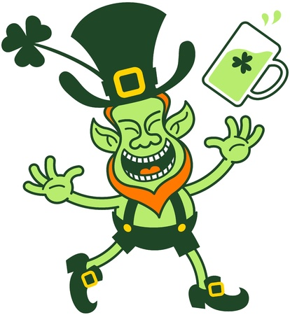 Euphoric leprechaun celebrating and throwing a glass of beer