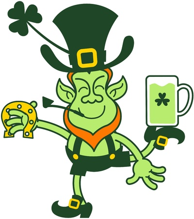 Proud leprechaun balancing while holding beer and a horseshoe