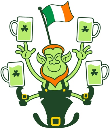 Happy leprechaun seated on his hat and juggling with beer and an Irish flag
