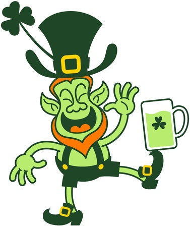 balancing: Irish leprechaun laughing while balancing a glass of beer on his foot
