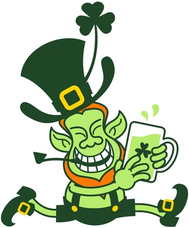 Irish leprechaun smiling and running while holding a glass of beer with his hands Illustration