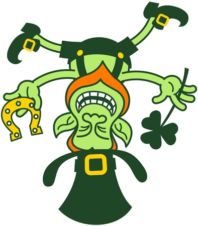 Irish leprechaun smiling, balancing upside down on his hat and holding a horseshoe and a shamrock clover Illustration