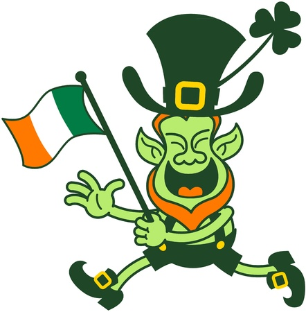 Green leprechaun running and waving an Irish flag to celebrate Saint Patrick