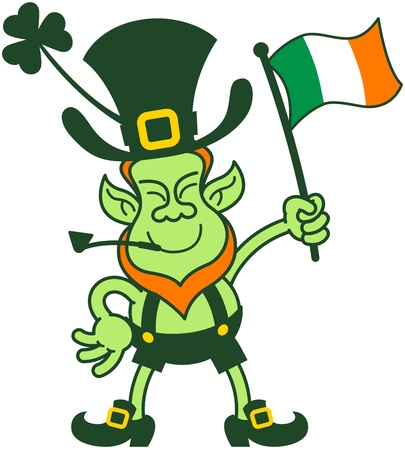 Irish leprechaun smiling and showing how proud he is while waving an Irish flag Vector