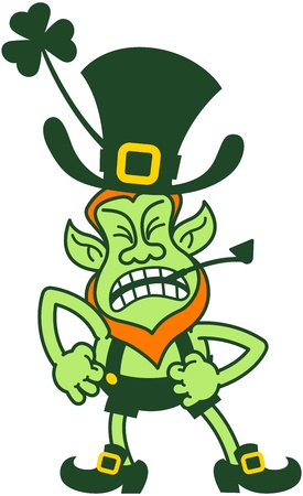 Angry leprechaun balancing his body and clenching his fists and teeth while furiously writhing in anger Illustration