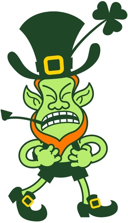 saint paddy's: Angry leprechaun protesting, clenching his fists and going for fighting while walking in anger Illustration