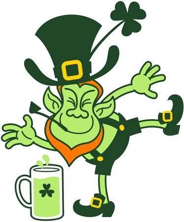 Drunk leprechaun having fun, smiling and trying to keep balance while going to pick up a glass of beer from the floor
