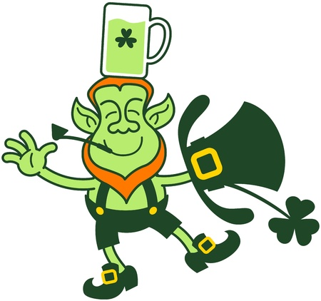 Irish leprechaun having fun, smiling and trying to keep balance while holding a glass of beer over his head