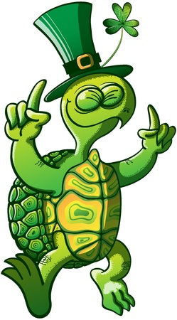 Nice smiling green turtle wearing a big hat with a clover and raising his arms while dancing and celebrating Saint Patrick s Day Vector