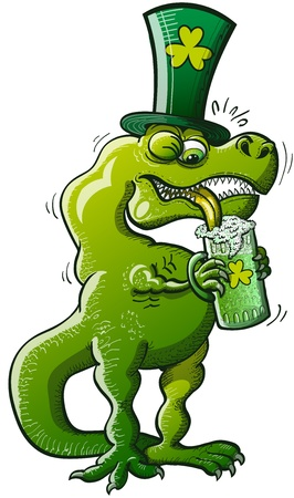 Green Tyrannosaurus Rex having trouble trying to drink some St Patrick s Day beer because of his very short arms Illustration