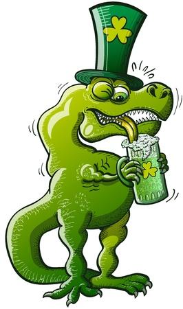 Groene Tyrannosaurus Rex problemen proberen om wat St Patrick's Day bier te drinken vanwege zijn zeer korte armen
