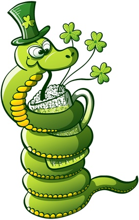 Green Snake wrapping her body around a glass and drinking Saint Patrick s Day green beer Vector