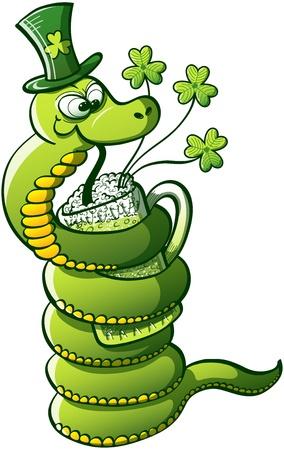 Yeşil Yılan cam etrafında vücudunu sararak ve Saint Patrick Günü yeşil bira içme