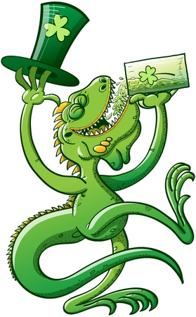Green Iguana having fun while drinking beer and holding a big hat on St Paddy s Day celebration