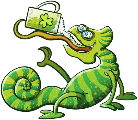 Stripped green chameleon projecting his long and sticky tongue, holding a glass and drinking green beer while seated