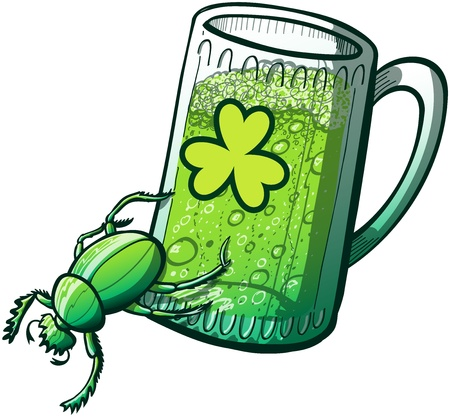 Green powerful beetle pushing a glass of Saint Patrick s Day beer with his legs, for spilling and drinking it Illustration