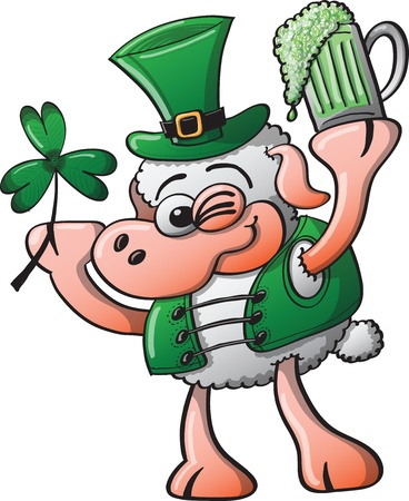 St Patrick s Day Sheep winking, smiling and holding a clover and a glass of beer Vector