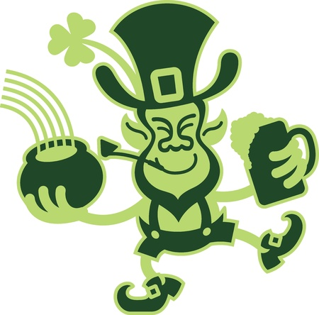 Green Two Toned Leprechaun holding a beer and pot of gold while smiling and dancing Vector