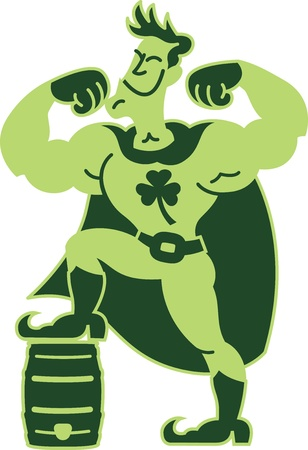 Super Hero Man powered by beer showing his muscles, his foot up on a keg and a Saint Patrick s Day clover as symbol