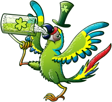 Exotic Green Macaw raising his leg while holding a glass, opening his wings and drinking Saint Patrick s Day Irish beer