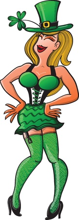 big hat: Sexy St Patrick s Day Girl dancing and smiling while wearing green clothing, a big hat and a mini skirt Illustration