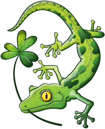 Shy Green Spotted Gecko smiling and holding a shamrock clover in his mouth to celebrate St Patrick s Day Vector