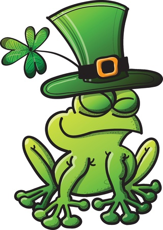 St Patrick s Day frog smiling and wearing a green hat with a shamrock Illustration