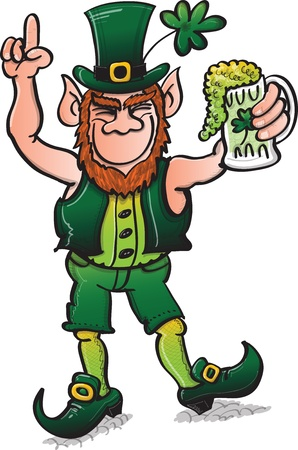 St Patrick s Day Leprechaun dancing and celebrating with beer while rising his finger