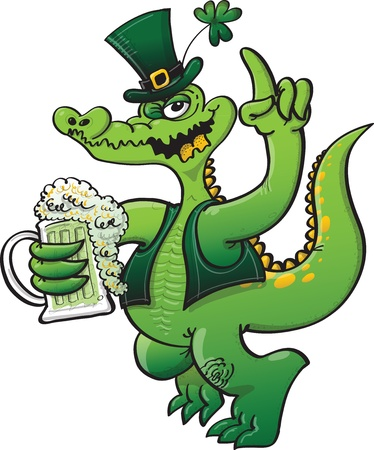 Green crocodile wearing green Saint Patrick s Day clothing and celebrating with beer Illustration